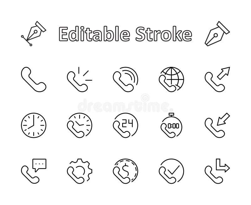 Sistema de la línea iconos del vector del teléfono Contiene los símbolos de las llamadas entrantes, salientes, faltadas, llamada  libre illustration