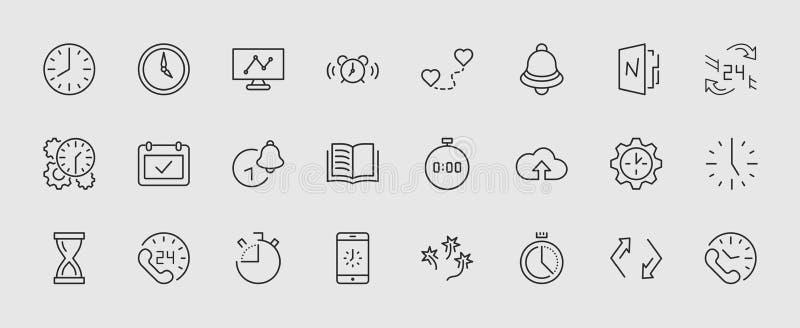 Sistema de la línea iconos del vector del tiempo Contiene los iconos tales como contador de tiempo, velocidad, alarma, restableci libre illustration
