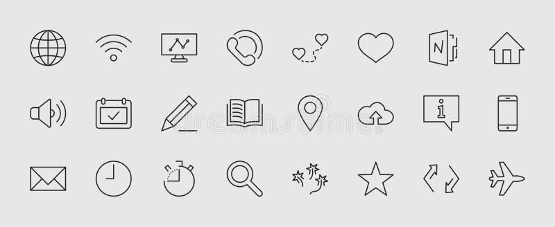 Sistema de la línea iconos del vector del web Contiene los iconos tales como el globo, Wi-Fi, hogar, corazón, el teléfono, el láp libre illustration