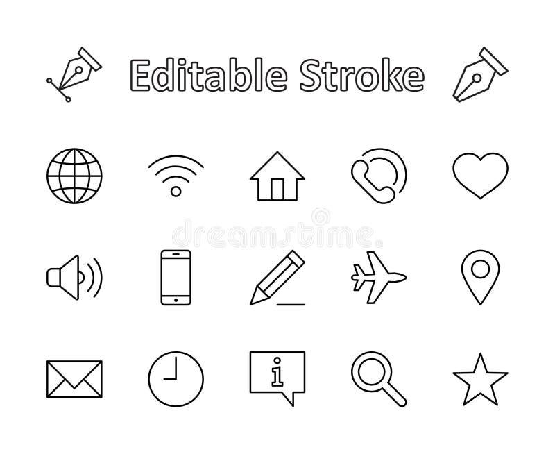 Sistema de la línea iconos del vector del web Contiene los iconos tales como el globo, Wi-Fi, hogar, corazón, el teléfono, el láp ilustración del vector