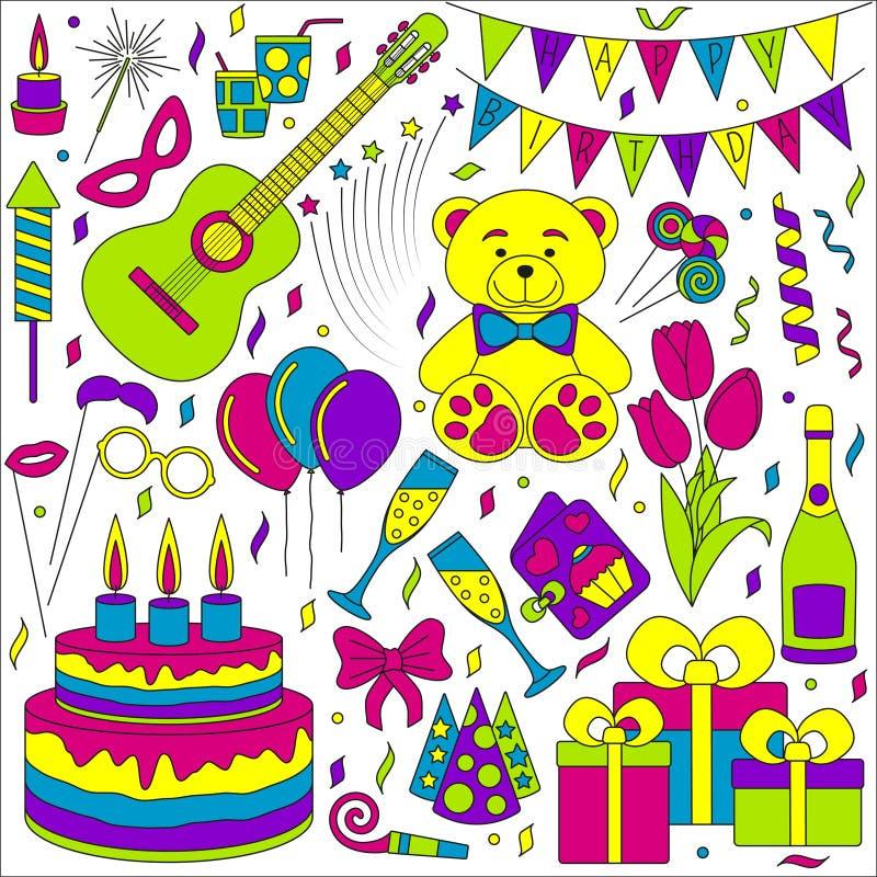 Sistema de la línea iconos Eventos del feliz cumpleaños y del partido ilustración del vector