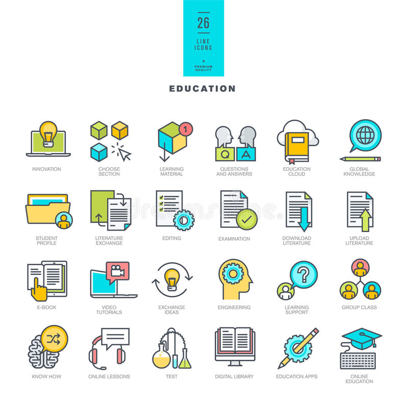 Sistema de la línea iconos modernos del color en el tema de la educación stock de ilustración