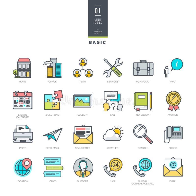 Sistema de la línea iconos modernos del color para el diseño del sitio web libre illustration