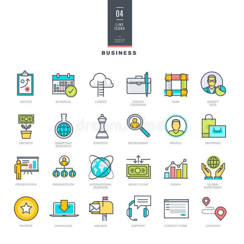 Sistema de la línea iconos modernos del color para el negocio ilustración del vector