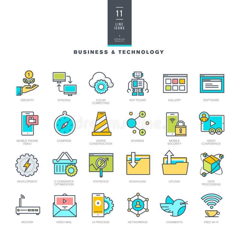 Sistema de la línea iconos modernos del color para el negocio y la tecnología libre illustration