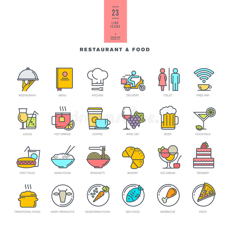 Sistema de la línea iconos modernos del color para el restaurante y la comida libre illustration