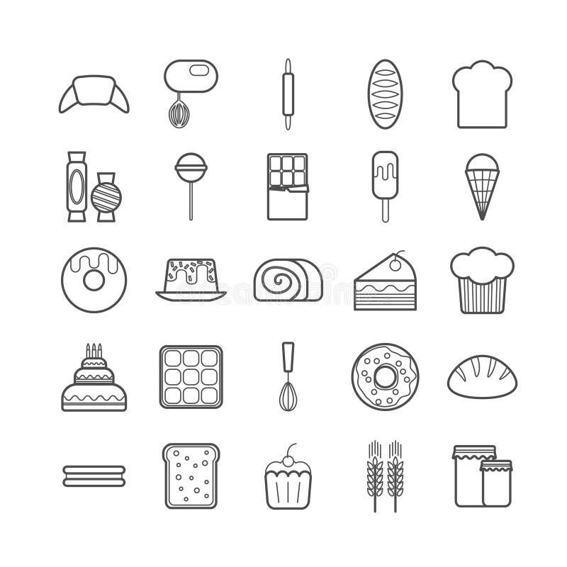 Sistema de la línea iconos de la panadería y de los pasteles libre illustration
