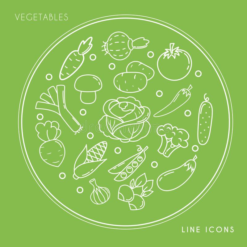 Sistema de la línea iconos vegetales blancos en el círculo aislado en fondo verde Comida fresca y sana de la granja libre illustration