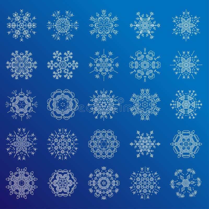 Sistema de la línea minimalistic copos de nieve geométricos, ejemplo del vector Colección del copo de nieve - escamas decorativas libre illustration