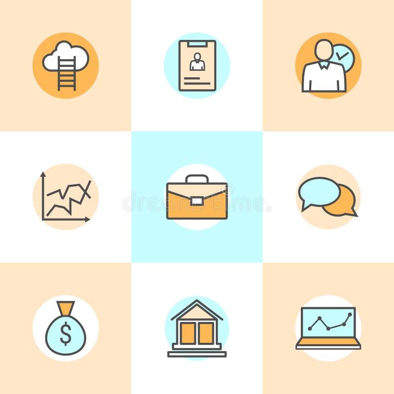 Sistema de la línea plana iconos de hombres de negocios de organización, gestión de recursos humanos, desarrollo de la compañía,  ilustración del vector