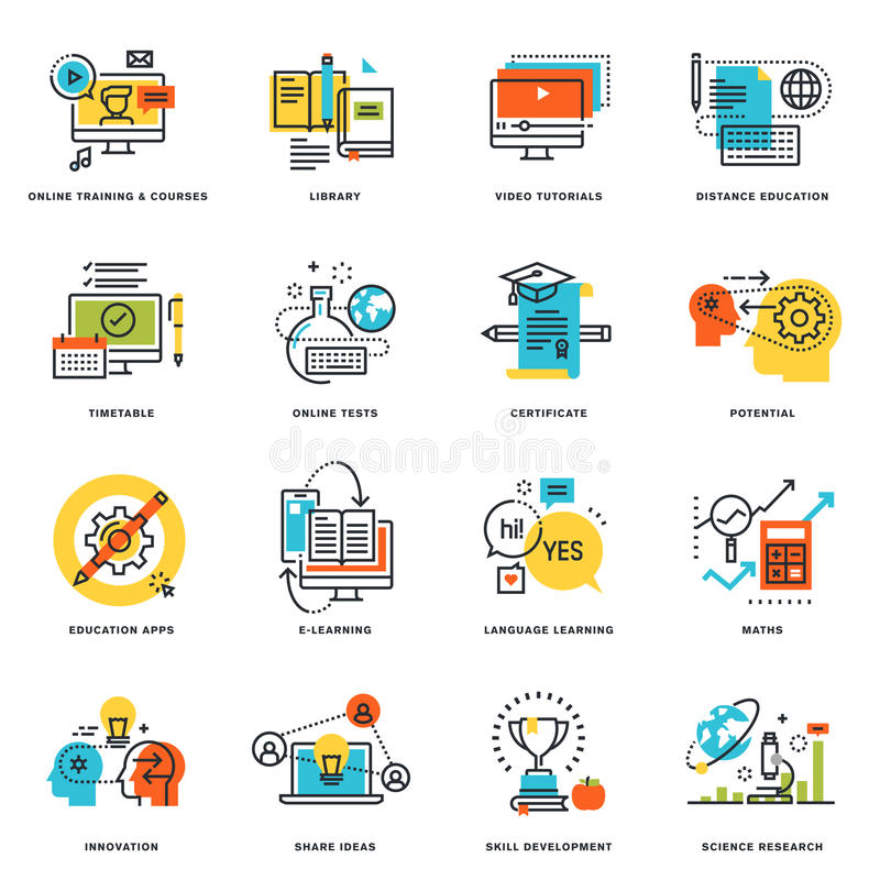 Sistema de la línea plana iconos del diseño de educación y de aprendizaje electrónico en línea stock de ilustración