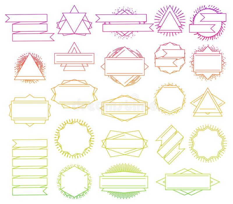 Sistema de la línea plantillas del logotipo del inconformista del diseño libre illustration