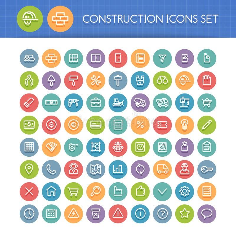 Sistema de la línea redonda iconos de la construcción ilustración del vector