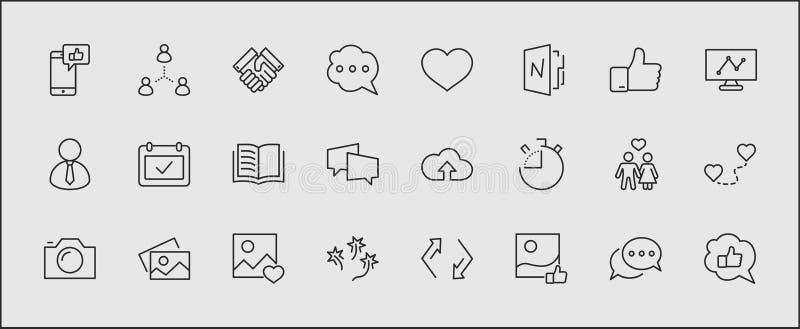 Sistema de la línea relacionada iconos del vector de las redes sociales Contiene los iconos tales como la página del perfil, el g ilustración del vector
