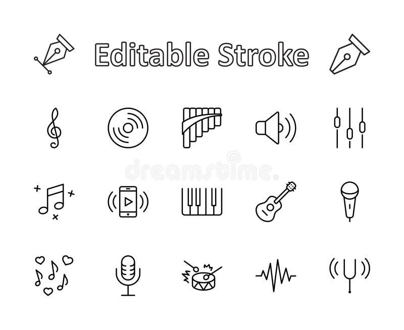 Sistema de la línea relacionada iconos del vector de la música Contiene los iconos tales como Pan Flute, piano, la guitarra, la c ilustración del vector