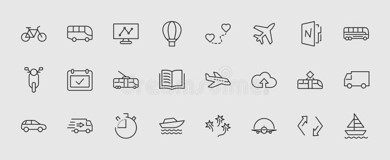 Sistema de la línea relacionada iconos del vector del transporte público Contiene los iconos tales como el autobús, bici, vespa,  stock de ilustración