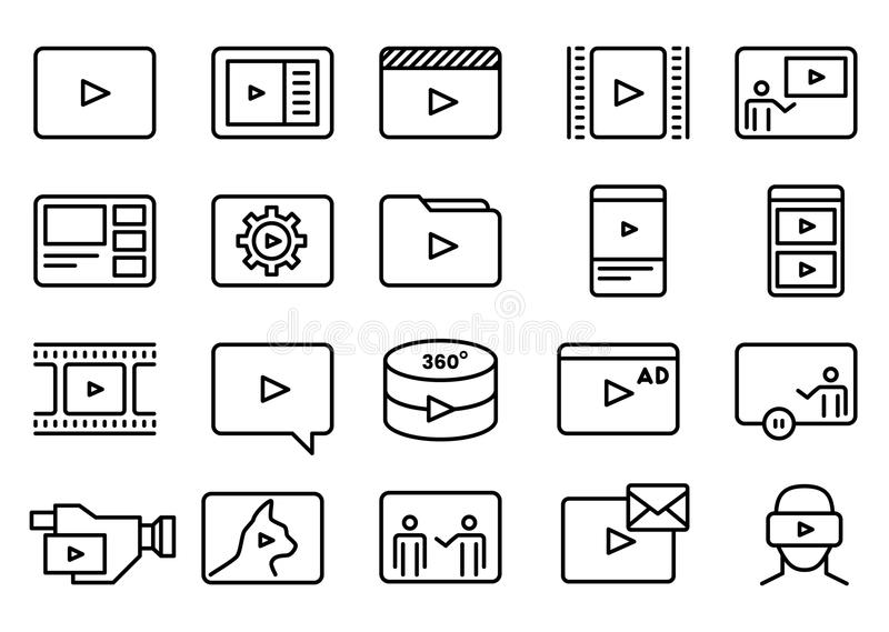 Sistema de la línea video simple Art Icons del vector libre illustration