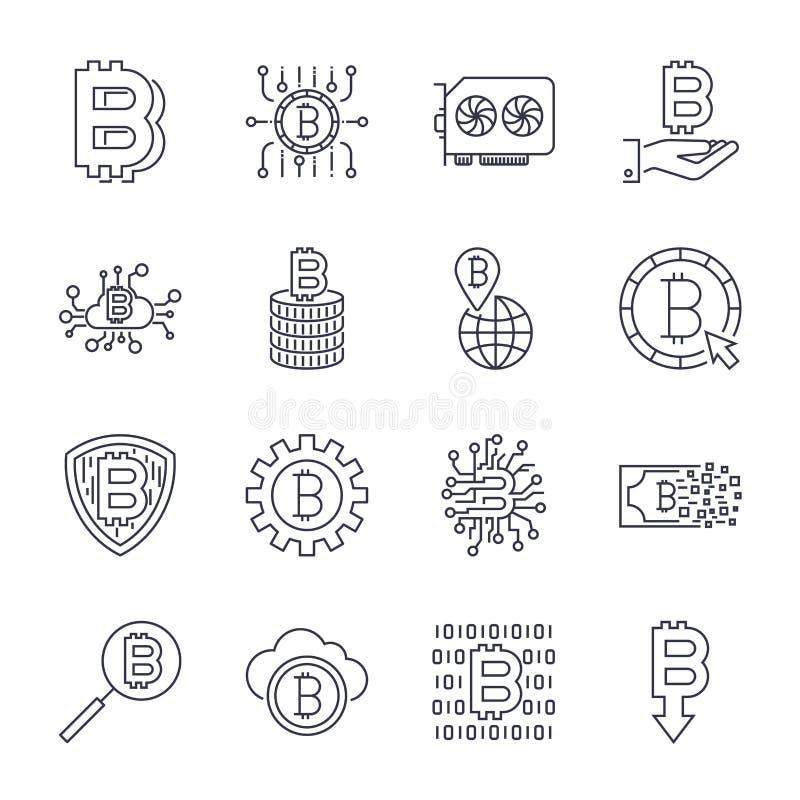 Sistema de la l?nea iconos del bitcoin del vector Inversiones, pagos e intercambio, actividades bancarias de Internet, cartera, p stock de ilustración