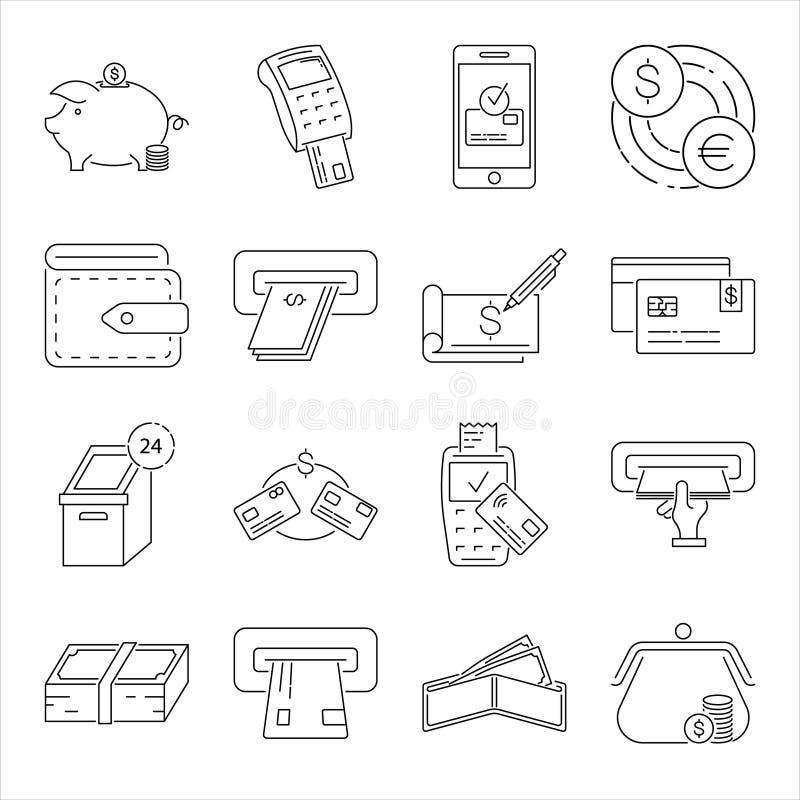 Sistema de la l?nea relacionada iconos del vector del dinero libre illustration