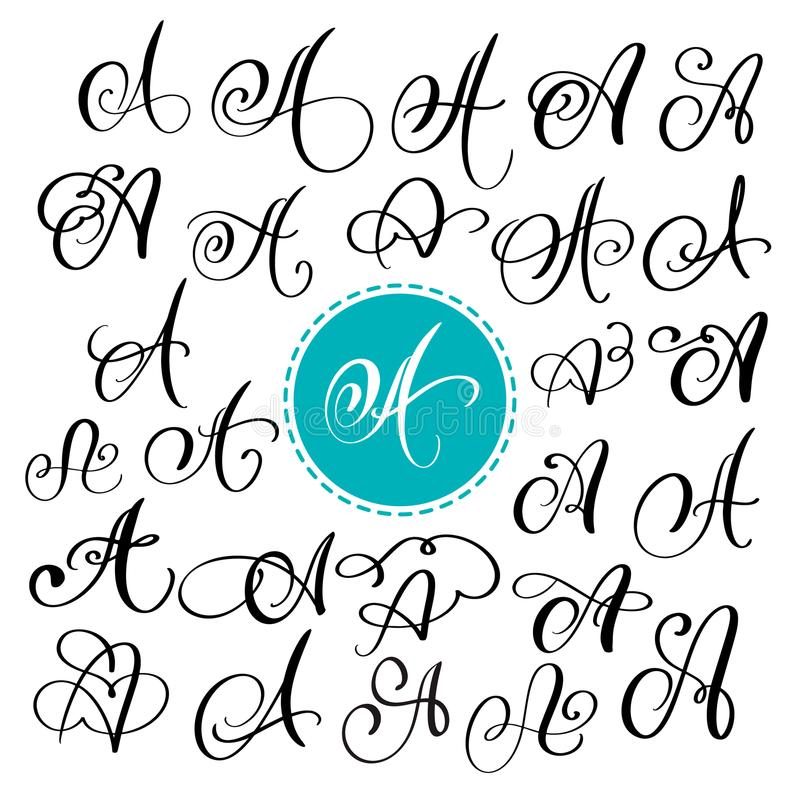 Sistema de la letra dibujada mano A de la caligrafía del vector Fuente de la escritura Letras aisladas escritas con tinta Estilo  stock de ilustración