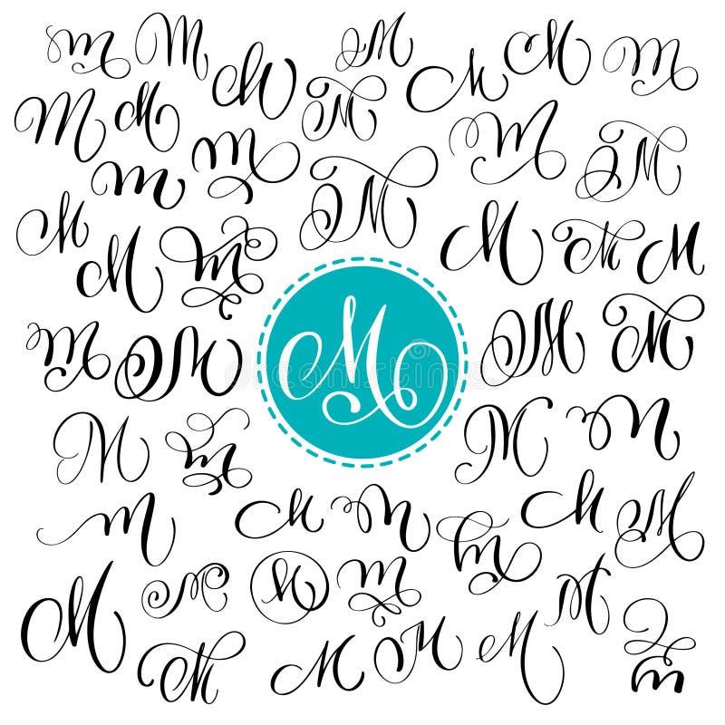 Sistema de la letra dibujada mano M de la caligrafía del vector Fuente de la escritura Letras aisladas escritas con tinta Estilo  ilustración del vector
