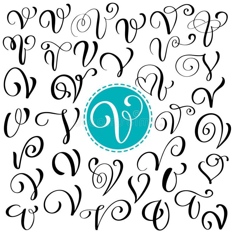 Sistema de la letra dibujada mano V de la caligrafía del vector Fuente de la escritura Letras aisladas escritas con tinta Estilo  stock de ilustración