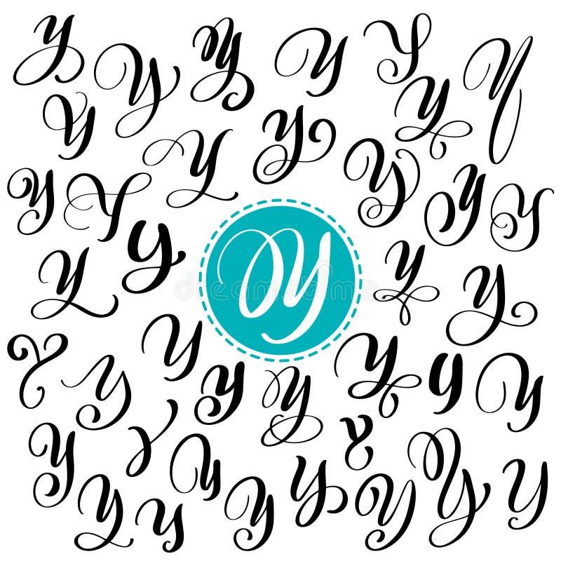 Sistema de la letra dibujada mano Y de la caligrafía del vector Fuente de la escritura Letras aisladas escritas con tinta Estilo  libre illustration