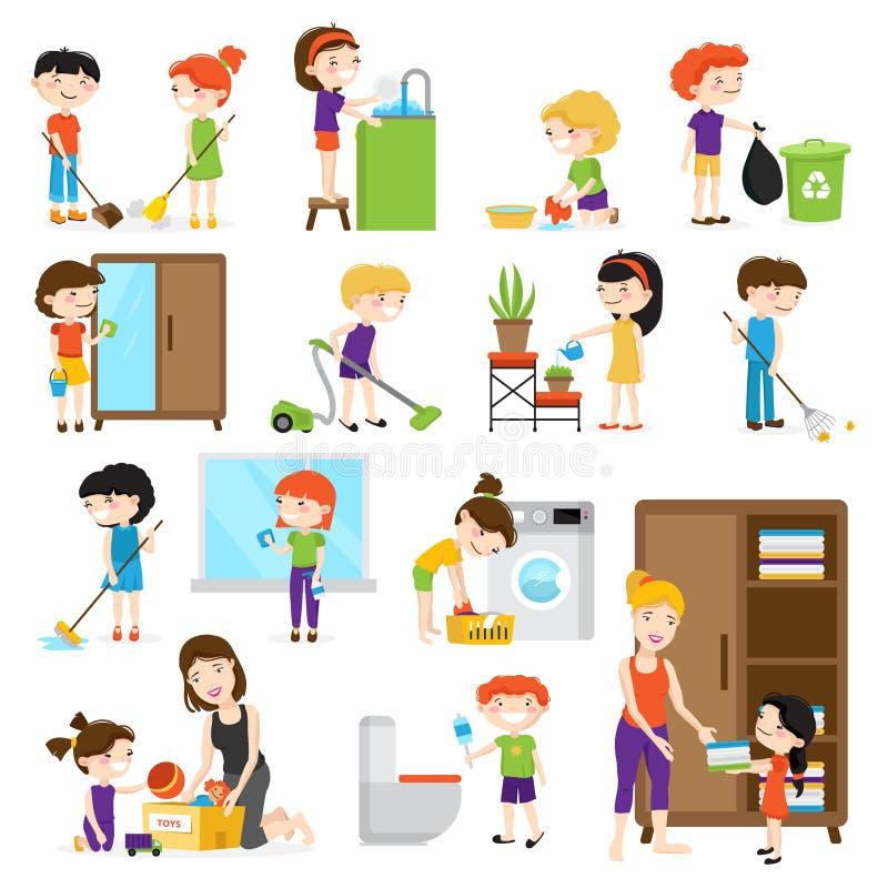 Sistema de la limpieza del niño ilustración del vector