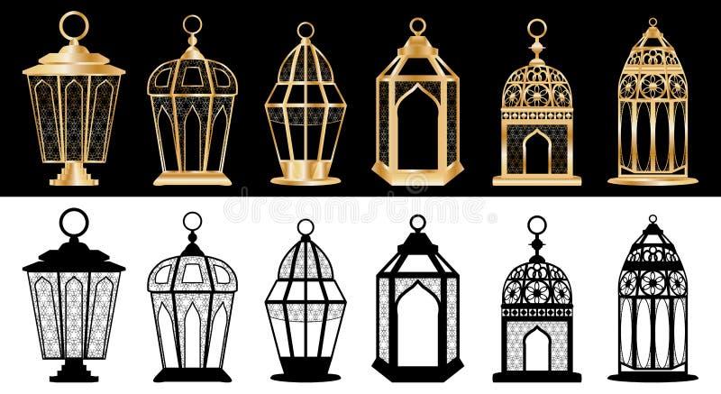 Sistema de la linterna del Ramadán stock de ilustración