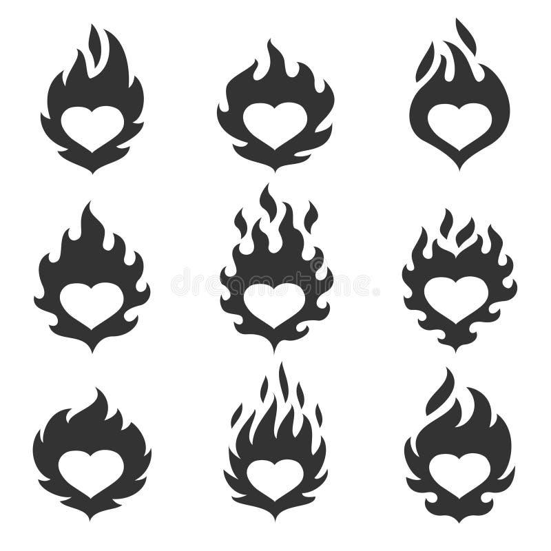 Sistema de la llama del corazón stock de ilustración