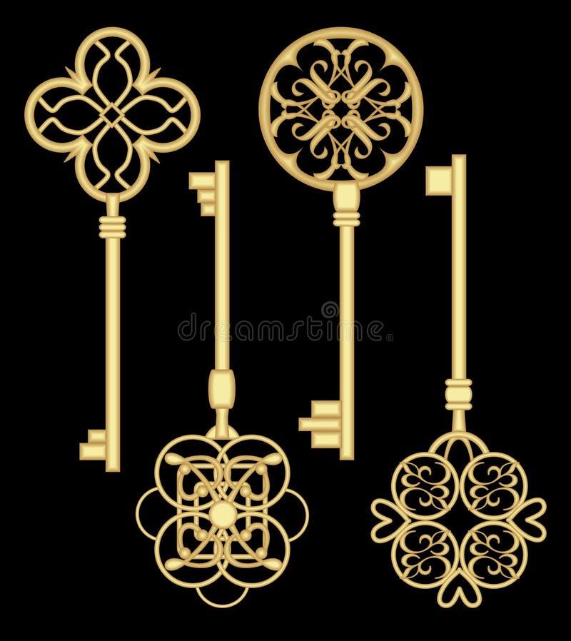 Sistema de la llave de la puerta de Antigue en diseño metálico de oro con los modelos ornamentales históricos del vintage ilustración del vector