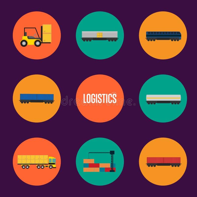 Sistema de la logística y del icono del transporte stock de ilustración