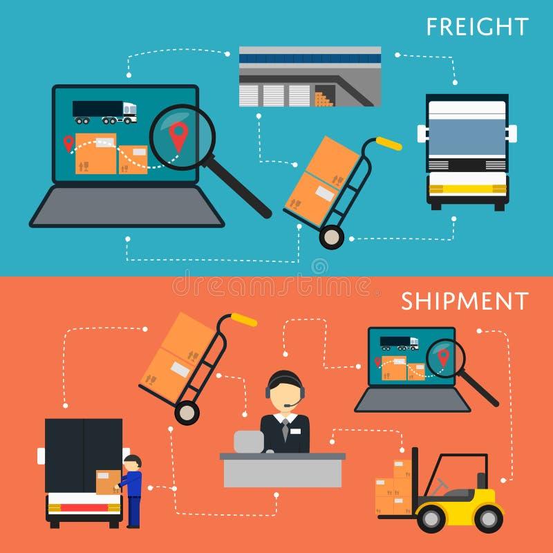 Sistema de la logística y del organigrama del envío de la carga ilustración del vector