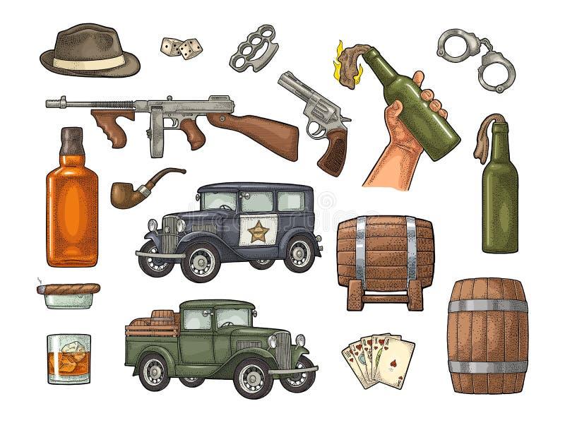 Sistema de la mafia del gángster Ejemplo del negro del vector del vintage del grabado stock de ilustración