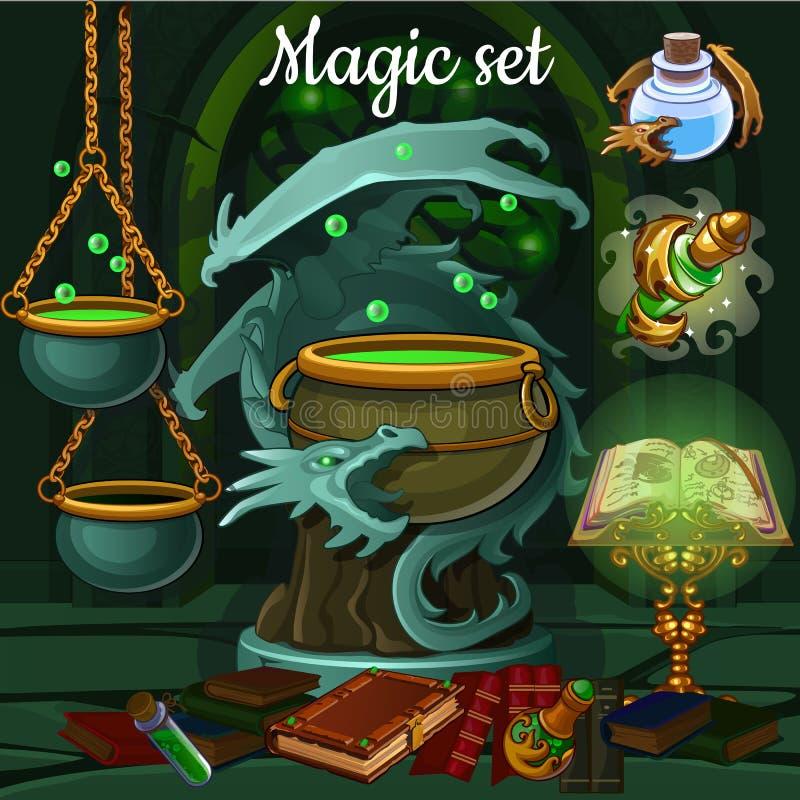 Sistema de la magia de las herramientas para la brujería y los encantos libre illustration