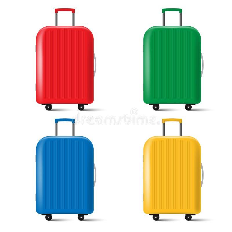 Sistema de la maleta del viaje con las ruedas aisladas en el fondo blanco Ilustración del vector libre illustration