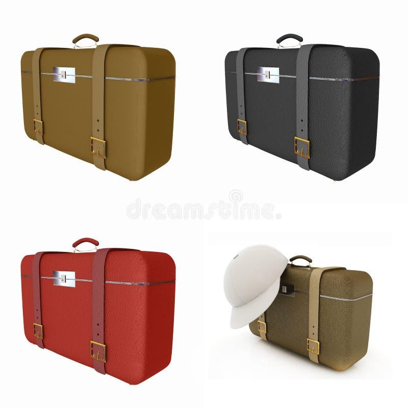 Sistema de la maleta del viajero stock de ilustración