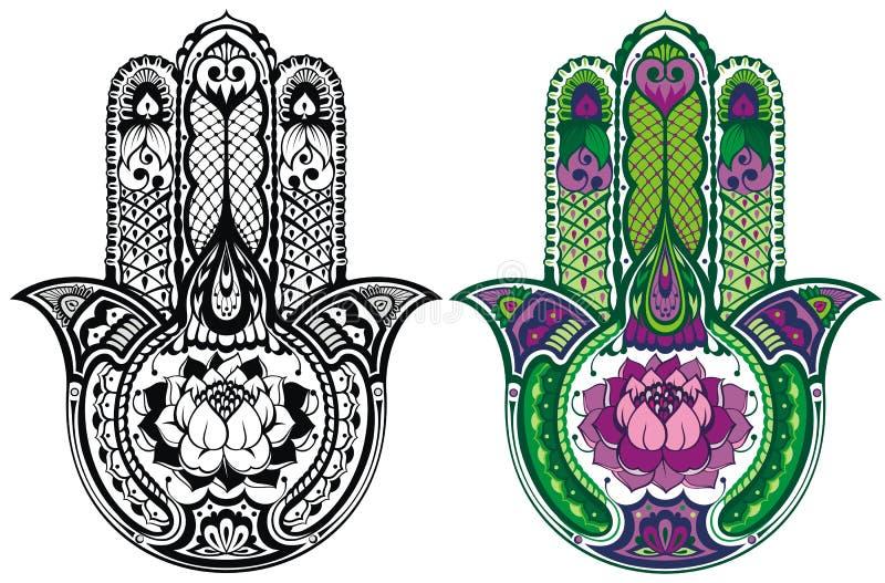 Sistema de la mano de Hamsa ilustración del vector