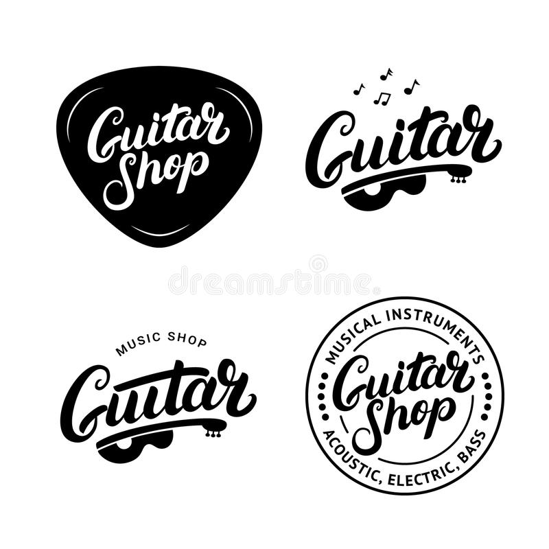 Sistema de la mano de la tienda de la guitarra escrita poniendo letras a los logotipos, emblemas, insignias ilustración del vector