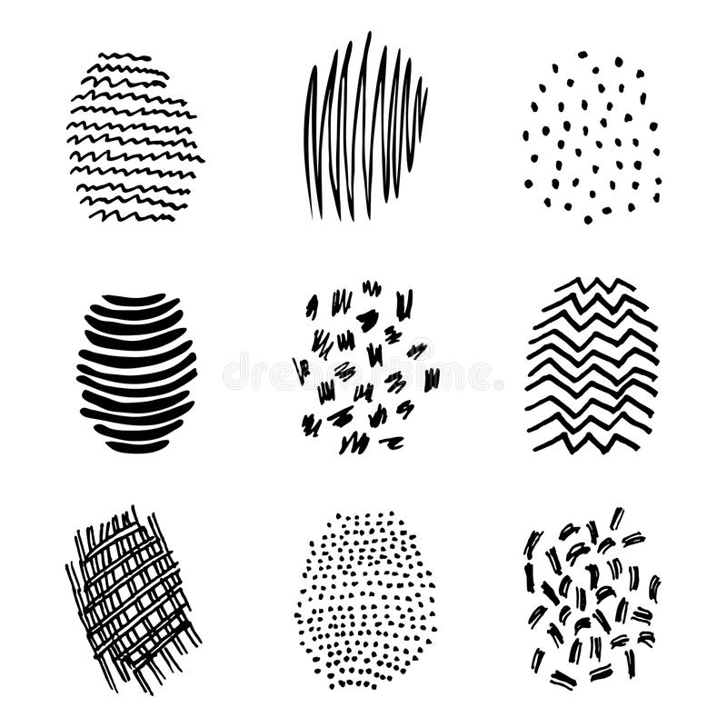 Sistema de la mano de la trama 9 dibujada stock de ilustración