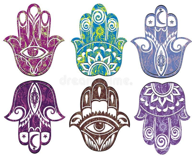 Sistema de la mano del hamsa Mano de Fátima libre illustration