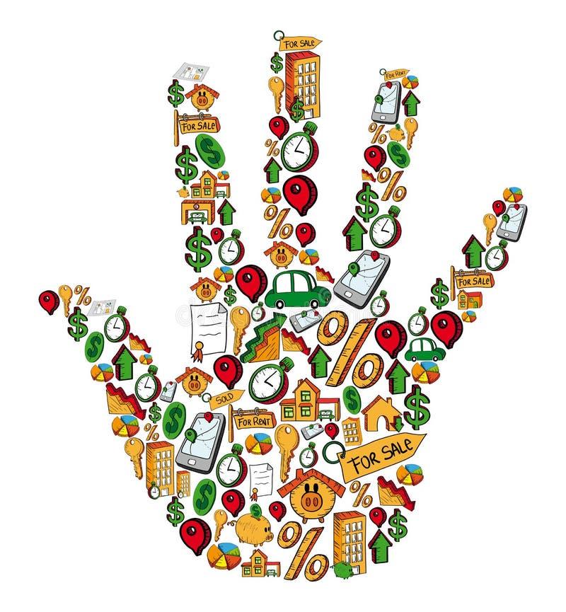 Sistema de la mano del icono de las propiedades inmobiliarias stock de ilustración