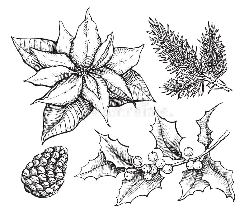 Sistema de la mano dibujado, decoración del vintage del vector de la Navidad de la tradición stock de ilustración