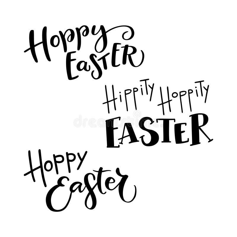 Sistema de la mano dibujado poniendo letras a la frase Pascua de lúpulo stock de ilustración