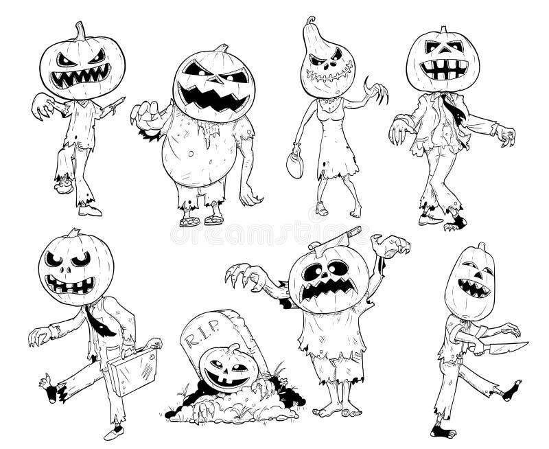 Sistema de la mano linda que dibuja ejemplos del zombi de la calabaza de Halloween libre illustration