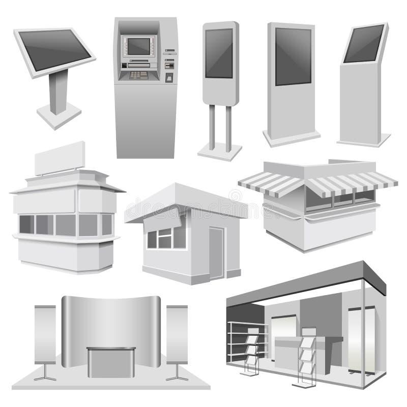 Sistema de la maqueta de la cabina del soporte del quiosco, estilo realista ilustración del vector