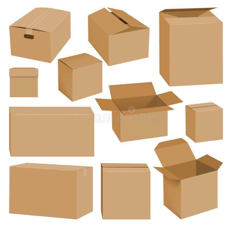 Sistema de la maqueta de la caja de cartón, estilo realista ilustración del vector