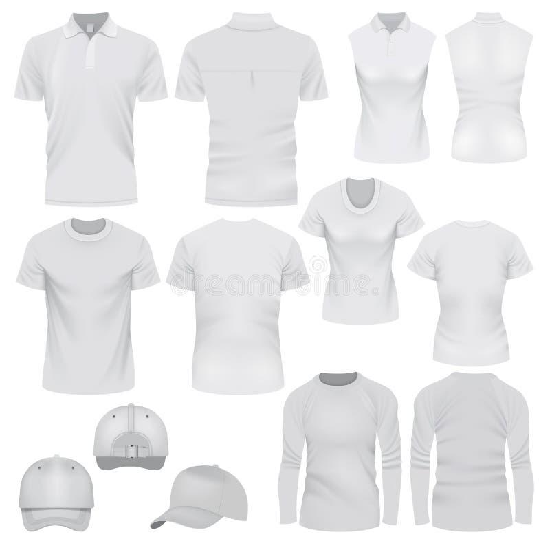 Sistema de la maqueta del casquillo de la camiseta, estilo realista stock de ilustración