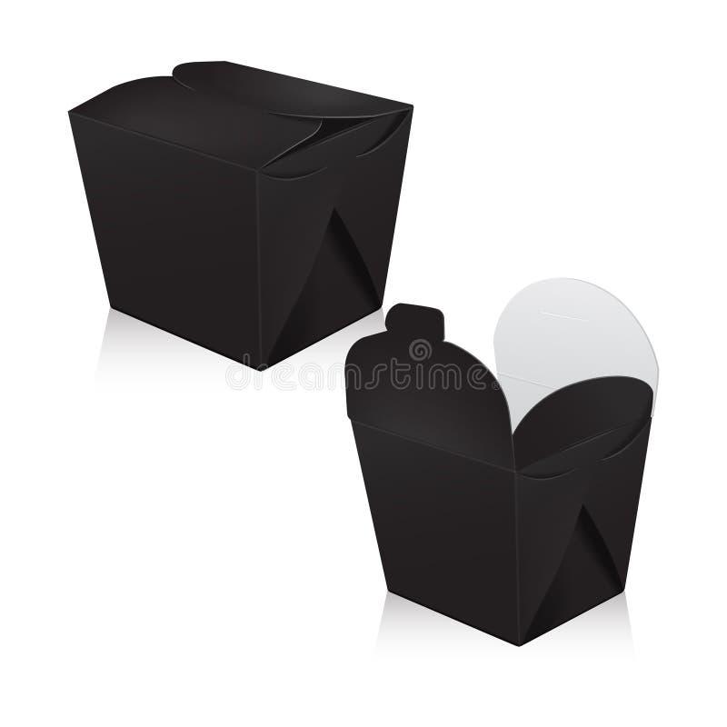 Sistema de la maqueta en blanco negra de la caja del wok Empaquetado del vector 3d La caja del cartón para asiático o chino se ll ilustración del vector