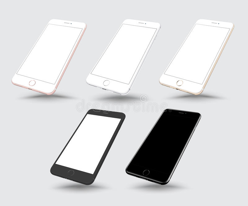 Sistema de la maqueta realista del smartphone ilustración del vector